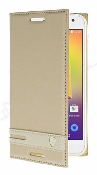 Alcatel A3 Gizli Mıknatıslı Standlı Gold Deri Kılıf
