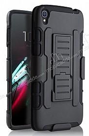 Alcatel OneTouch idol 3 5.5 Standlı Ultra Koruma Siyah Kılıf