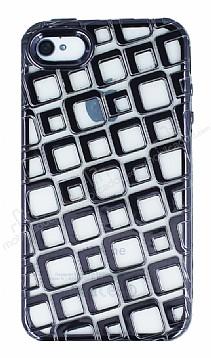 Apple iPhone 4 Kare Desenli Siyah Silikon Kılıf