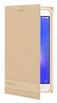 Asus ZenFone 3 Max ZC553KL Gizli Mıknatıslı Yan Kapaklı Gold Deri Kılıf