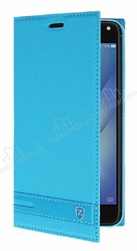 Asus Zenfone 4 Max ZC554KL Gizli Mıknatıslı Standlı Mavi Deri Kılıf