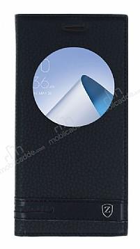 Asus ZenFone 4 ZE554KL Gizli Mıknatıslı Pencereli Siyah Deri Kılıf