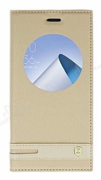 Asus ZenFone 4 ZE554KL Gizli Mıknatıslı Pencereli Gold Deri Kılıf