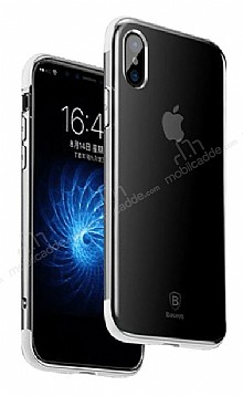 Baseus Armor iPhone X Beyaz Kenarlı Silikon Kılıf