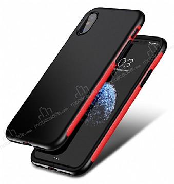 Baseus Bumper iPhone X Kırmızı Kenarlı Silikon Kılıf