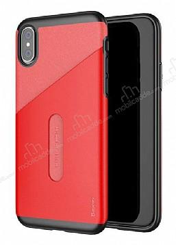 Baseus Card Pocket iPhone X Silikon Kenarlı Kırmızı Rubber Kılıf