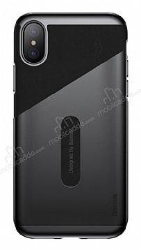 Baseus Card Pocket iPhone X Silikon Kenarlı Siyah Rubber Kılıf