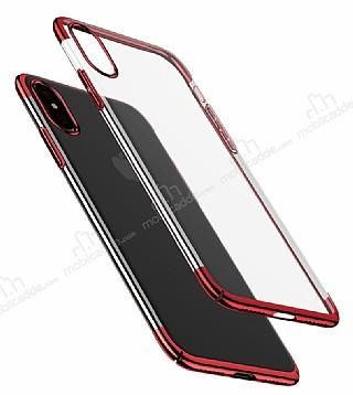 Baseus Glitter iPhone X Kırmızı Kenarlı Şeffaf Rubber Kılıf