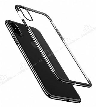 Baseus Glitter iPhone X Siyah Kenarlı Şeffaf Rubber Kılıf