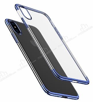 Baseus Glitter iPhone X Lacivert Kenarlı Şeffaf Rubber Kılıf