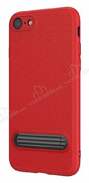 Baseus Happy iPhone 7 / 8 Standlı Deri Görünümlü Kırmızı Silikon Kılıf