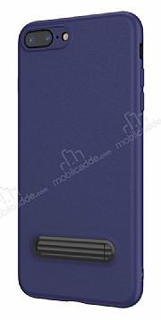 Baseus Happy iPhone 7 Plus / 8 Plus Standlı Deri Görünümlü Lacivert Silikon Kılıf