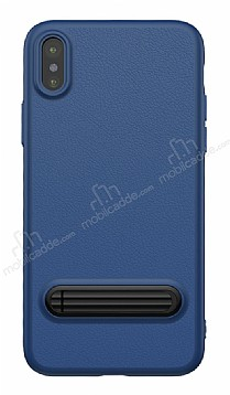Baseus iPhone X Standlı Deri Görünümlü Lacivert Silikon Kılıf