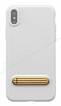 Baseus iPhone X Standlı Deri Görünümlü Beyaz Silikon Kılıf
