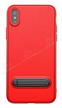 Baseus iPhone X Standlı Deri Görünümlü Kırmızı Silikon Kılıf