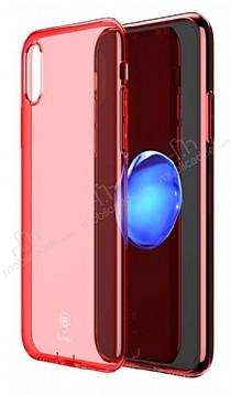 Baseus Simple iPhone X Kırmızı Silikon Kılıf