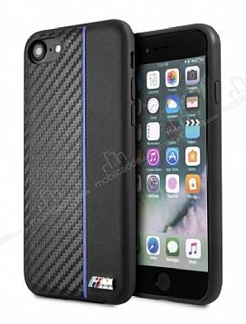 BMW iPhone 6 / 6S / 7 / 8 Mavi Çizgili Karbon Rubber Kılıf