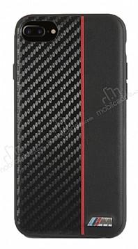 BMW iPhone 6 Plus / 6S Plus / 7 Plus / 8 Plus Kırmızı Çizgili Karbon Rubber Kılıf