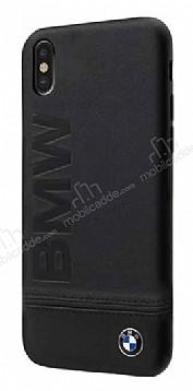 BMW iPhone X Gerçek Deri Siyah Rubber Kılıf