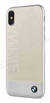 BMW iPhone X Gerçek Deri Krem Rubber Kılıf