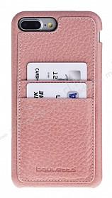 Bouletta Full Cover CC iPhone 7 Plus / 8 Plus Kartlıklı Floater Açık Pembe Gerçek Deri Kılıf