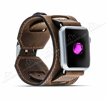 Burkley Apple Watch CUFF G2 Kahverengi Gerçek Deri Kordon (42 mm)