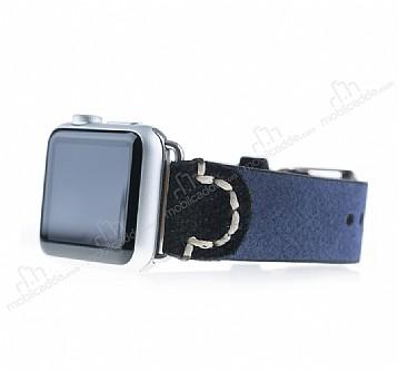 Burkley Apple Watch G1 Lacivert Gerçek Deri Kordon (42 mm)