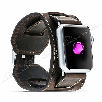 Burkley Apple Watch G6 Kahverengi Gerçek Deri Kordon (42 mm)