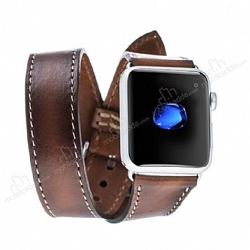 Burkley Apple Watch RST2 Kahverengi Gerçek Deri Kordon (42 mm)