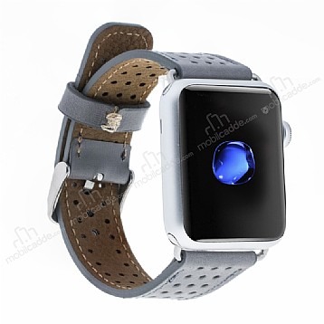 Burkley Apple Watch RST9 Delikli Gri Gerçek Deri Kordon (42 mm)