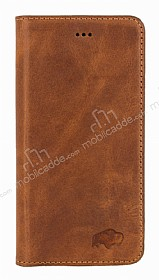 Burkley Book Folio iPhone 6 / 6S Gerçek Deri Antique Camel Rubber Kılıf