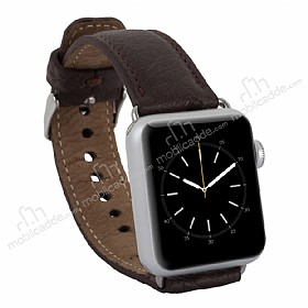 Burkley Exotic Apple Watch Kahverengi Gerçek Deri Kordon (38 mm)