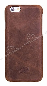 Burkley Snap-on iPhone 6 Plus / 6S Plus Gerçek Deri Antique Coffee Rubber Kılıf