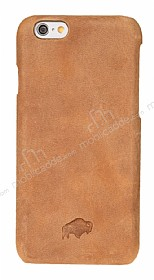 Burkley Snap-on iPhone 6 Plus / 6S Plus Gerçek Deri Antique Camel Rubber Kılıf
