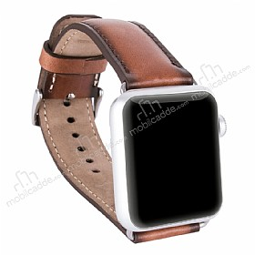 Burkley Padded Watch Genuine Apple Watch Burnished Tan Gerçek Deri Kordon (42 mm)