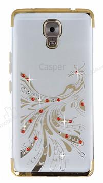 Casper Via A1 Plus Gold Peacock Taşlı Şeffaf Silikon Kılıf