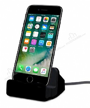iPhone 7 Plus / 8 Plus Lightning Masaüstü Dock Siyah Şarj Aleti