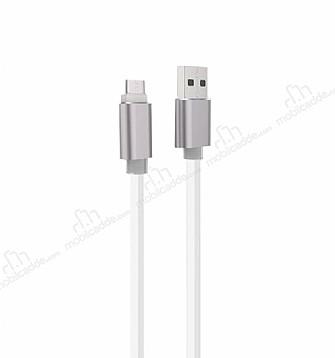 Cortrea Karanlıkta Parlayan Beyaz Micro USB Data Kablosu 1m
