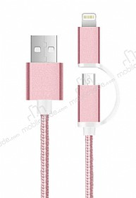 Cortrea Lightning & Micro USB K�sa Dayanakl� Rose Gold Data Kablosu