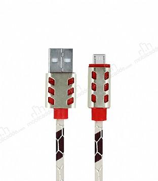 Cortrea Micro USB Yılan Derisi Desenli Gold Işıklı Data Kablosu 1m