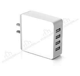 Cortrea USB 4 Port Girişli Beyaz Ev Şarj Adaptörü