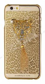 Crystal Dream Metalico iPhone 6 / 6S Leopar Taşlı Kılıf