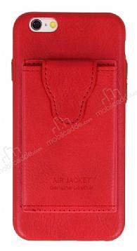Dafoni Air Jacket iPhone 6 / 6S Cüzdanlı Kırmızı Deri Kılıf