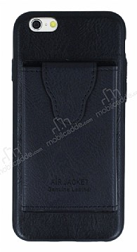 Dafoni Air Jacket iPhone 6 / 6S Cüzdanlı Siyah Deri Kılıf