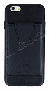 Dafoni Air Jacket iPhone 6 Plus / 6S Plus Cüzdanlı Siyah Deri Kılıf