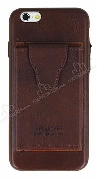 Dafoni Air Jacket iPhone 6 Plus / 6S Plus Cüzdanlı Kahverengi Deri Kılıf