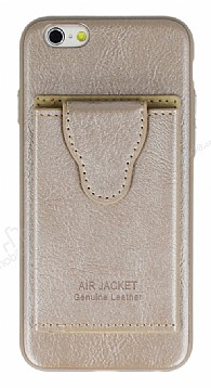 Dafoni Air Jacket iPhone 6 Plus / 6S Plus Cüzdanlı Gold Deri Kılıf