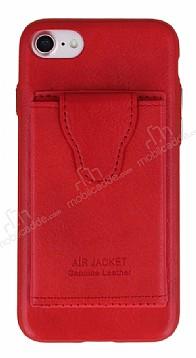 Dafoni Air Jacket iPhone 7 / 8 Cüzdanlı Kırmızı Deri Kılıf