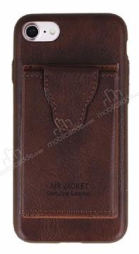 Dafoni Air Jacket iPhone 7 / 8 Cüzdanlı Kahverengi Deri Kılıf