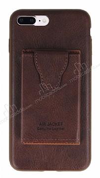 Dafoni Air Jacket iPhone 7 Plus / 8 Plus Cüzdanlı Kahverengi Deri Kılıf